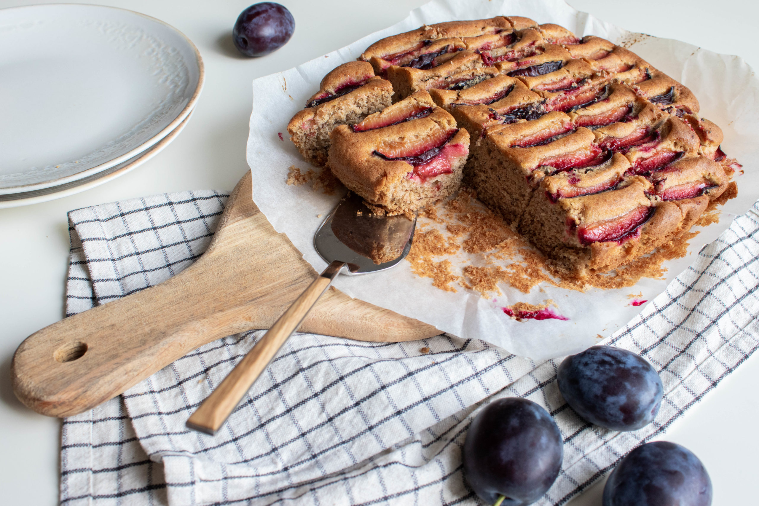 Banana plum cake is the perfect dessert recipe at the end of summer